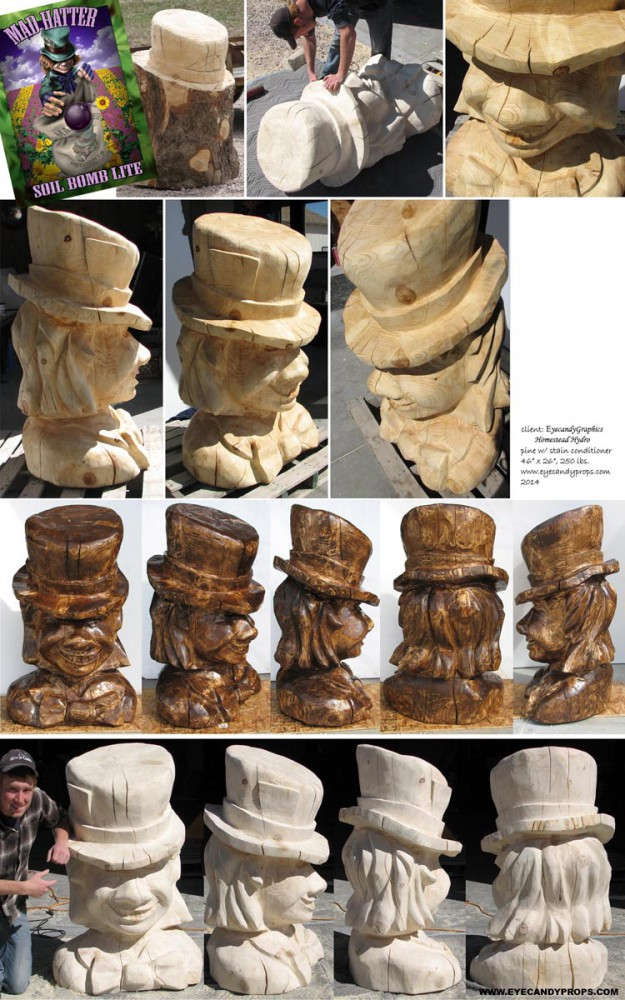 MAD HATTER WOOD CARVING process
